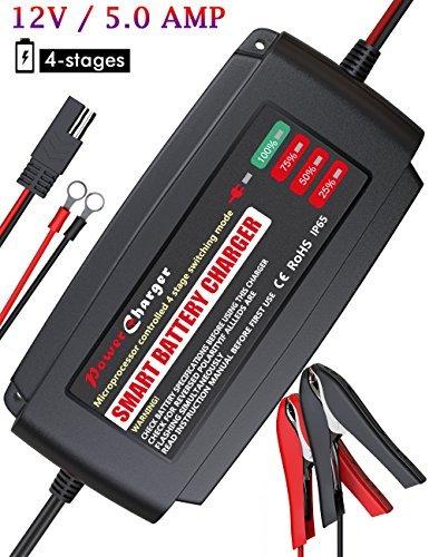 BMK 12V 5Amp Totalmente Automático Cargador de batería Mantenedor de cuatro etapas Smart carga de resistente al agua...