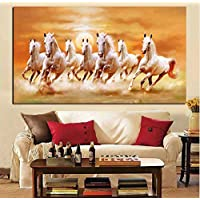 Big Size Hd Print Artistic Animals Seven Running White Horse Oil Painting On Canvas Modern Wall Painting for Living Room…