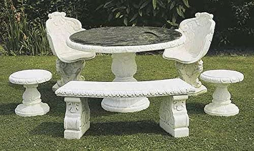 Mesa redonda de piedra con tablero de granito, diámetro de 130 cm, color arenisca: Amazon.es: Jardín