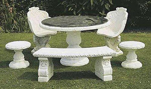 Tisch Steintisch Rund Mit Granitplatte O 130 Farbe Antikfinish