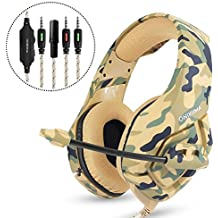 Gaming Camo Headset, 3.5mm Stereo Wired Over Ear Headphone with Mic&Noise Cancelling & Volume Control for New Xbox One / PC / Mac/ PS4/ Table/ Phone (Army Green)