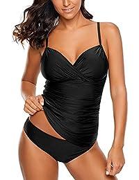 35c46c947e Women's Ruched Wrap Front Tankini Set 2 Piece Swimsuit Beachwear