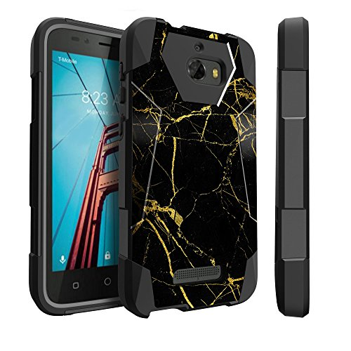 Untouchble Case for Coolpad Defiant, Defiant Case [TRAVELERS] Combat Shockproof Two Layer Kickstand Cover - Gold Marble