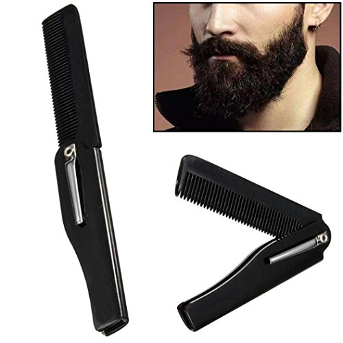 2 in 1 Comb! AMA(TM) Hairdressing Folding Hair and Beard Comb Pocket Size Beauty Tools for Men (Black 1)