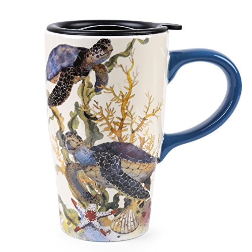 Minigift Ceramic Ocean Cup Travel Coffee Mug 17oz (4 Designs for choice-Turtle)