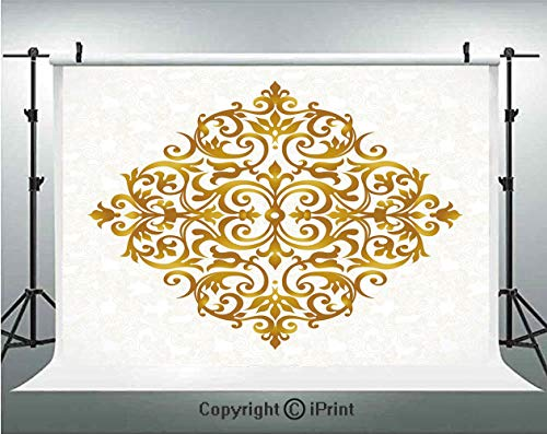 Gold Mandala Photography Backdrops Victorian Style Traditional Filigree Inspired Royal Oriental Classic Print Decorative,Birthday Party Background Customized Microfiber Photo Studio Props,7x5ft,Gold W