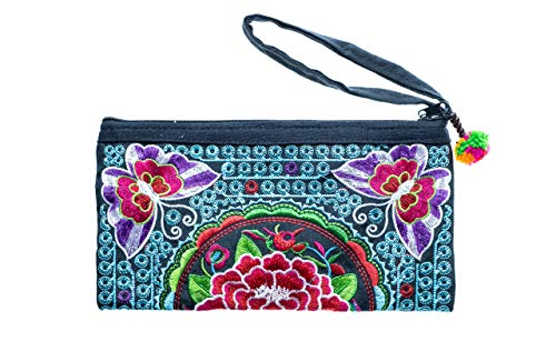 Cotton Rose Embroidered Clutch Boho Wristlet Hippy Purse Bohemian Purse Gypsy Purse Hippie Purses Phone Wallet Purses