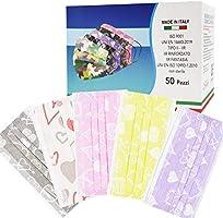 PARTY MONSTER 50 Pezzi MADE IN ITALY Mascherine Colorate protettiva colorata personale 3 strati CE tipo IIR, Nasello...