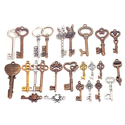 Bonayuanda Pack of 25 Mixed Antique Vintage Skeleton Keys Heart Bow Punk Charm Set Necklace Pendants