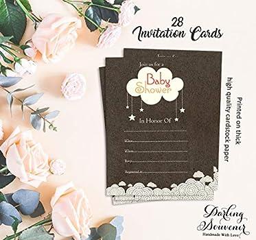 بطاقة دعوة تذكارية دارلينج لحفل استقبال المولود الجديد مطبوعة بشكل أنيق أو كتابة في دعوات فارغة للحفلات 28 قطعة Amazon Ae