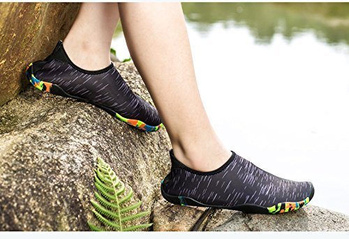 Miuincy Zapatos De Agua Hombres Mujeres Descalzo Zapatos De Aqua De Secado Rápido Para Nadar Yoga Lake Beach Boating Negro