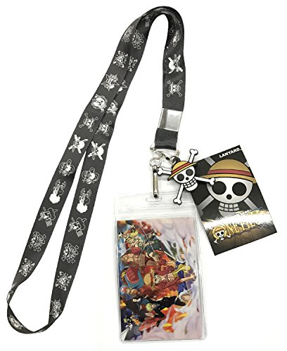 (One Piece Flags Lanyard With Badge ID Holder and PVC Charm )