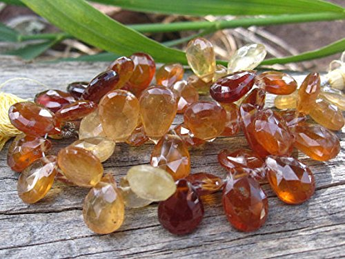 Hessonite Garnet beads faceted teardrop stone gemstones semiprecious 3 3 4 inches 10mm X 8mm