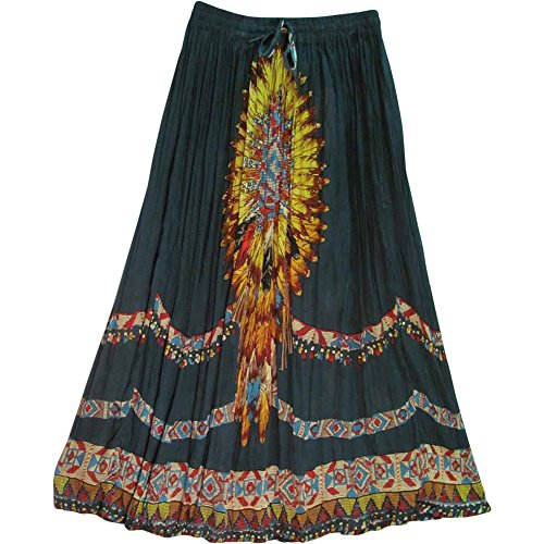 (Yoga Trendz Indian Bohemian Ethnic Green Feather Print Crinkled Broomstick Long Skirt No56)