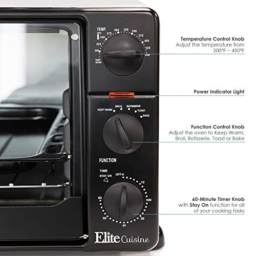 Elite Cuisine ERO-2008N Countertop Toaster Oven, 60-Min Timer with Stay-On Function Rotisserie, Bake, Grill, Broil, Roast, Toast, Keep Warm, 23L Capacity, 23 L, Black