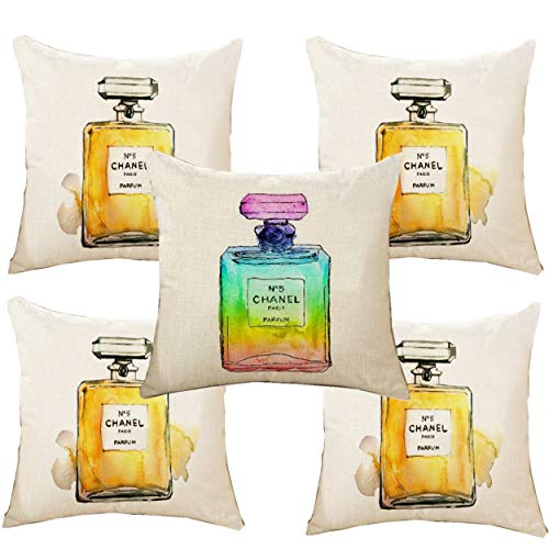 "Unibedding 5 Pack Modern Perfume Throw Pillow Covers, Perfume Decor Pillowcase Cotton Linen - Decorative Pillow Case 18"" x18"