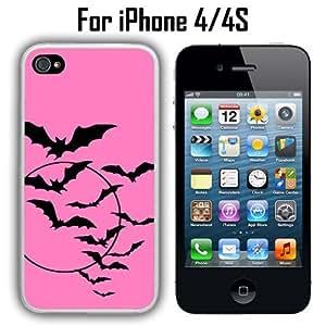 Bats Flying Pink Custom Case/ Cover/Skin *NEW* Case for Apple iPhone 4/4S - White - Plastic Case (Ships from CA) Custom Protective Case , Design Case-ATT Verizon T-mobile Sprint ,Friendly Packaging - Slim Case