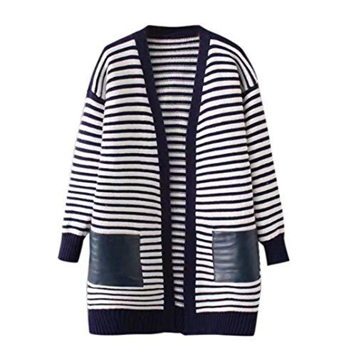 Maglia Invernali Giacche Lunga Di Manica Cappotto Libero Stripe Moda Baggy Blau Donna Tempo Autunno Eleganti Outwear Grazioso Cardigan Giacca A U0wcSqPt