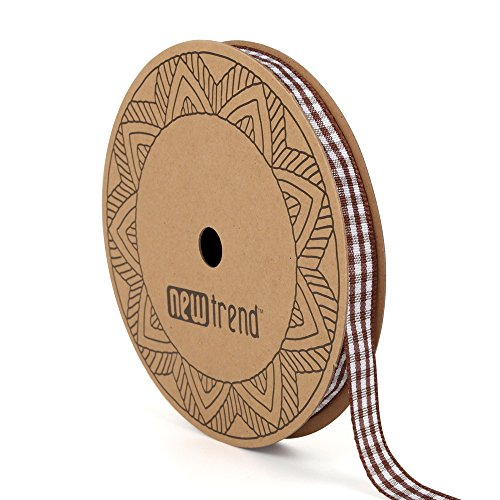 NewTrend Gingham Ribbon 25 Yard Each Roll 100% Polyester Woven Edge (3/8-Inch, Brown)