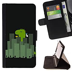 DEVIL CASE - FOR Apple Iphone 4 / 4S - Dinosaur Green Reptile City Cute Cartoon - Style PU Leather Case Wallet Flip Stand Flap Closure Cover