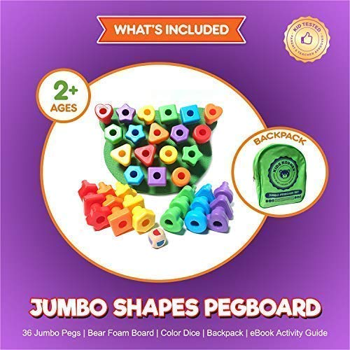 Jumbo Shapes Peg Board Toddler Games Set - Educational Baby Toys For 1 Year Old 2 3 4 Girls and Boys Stacking Sensory Toys, Peg Math Manipulatives, Toy Storage Backpack & Learning Activities eBook