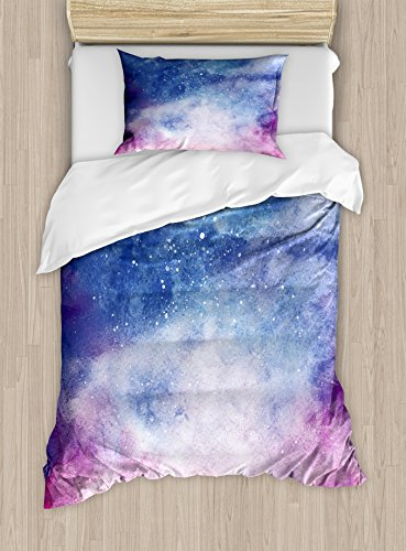 - Ambesonne Navy and Blush Duvet Cover Set Twin Size, Watercolor Style Starry Space Galaxy Nebula Abstract Cosmos Inspired, Decorative 2 Piece Bedding Set with 1 Pillow Sham, Salmon Pink