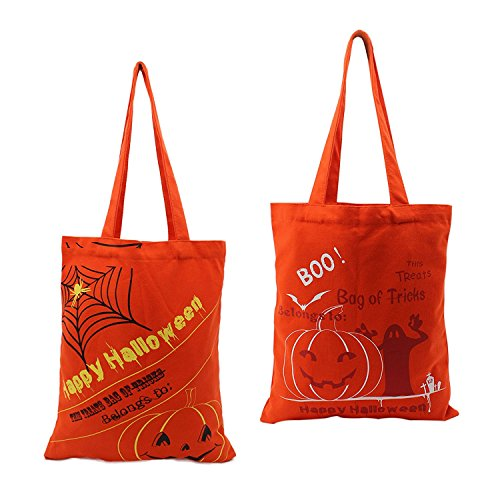 Halloween Candy Bag Basket Trick or Treat 100% Canvas Gifts Party Favors Tote, Heavy Duty Grocery shopping reusable Bags Pumpkin (random 2 pack) (Good Halloween Party Treats)