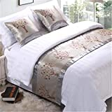 YIH Bed Runner Scarf Grey Tree, Luxury Decorative Bed End Scarf For Bedroom Hotel Wedding Room, 82 Inches By 19 Inches