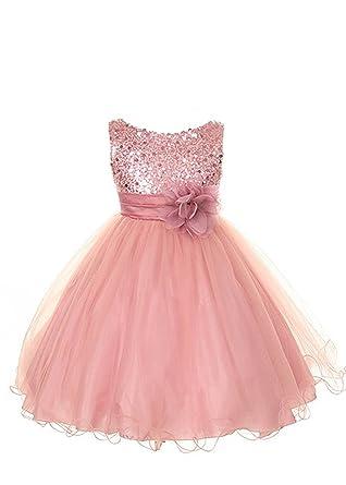 69704d137ee36 Kid's Dream Girl's Dusty Rose Sequin Bodice Mesh Girl Dress-drose-2