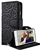 iPhone 6 Wallet Case, FLYEE iphone 6s Premium Vintage Emboss Flower Flip Wallet Shell PU Leather Magnetic Cover Skin with Detachable Wrist Strap Case for iPhone 6/6s 4.7″ (Black) For Sale