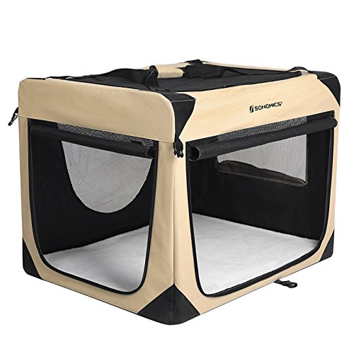 SONGMICS Soft Sided Dog Crate Pen Kennel Foldable Pet House with Self-locking Zipper Mesh Panel Beige 35 3/8 L x 25 5/8 W x 25 5/8 H (90 x 65 x 65cm) (Dog Traveling Crates)