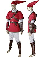 The Legend of Zelda the Adventure of Link Cosplay Costume Red Outfit with Hat