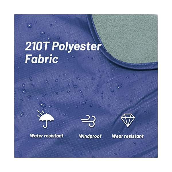 51PN7T8BDqL ZOMAKE Warme Fleece-Outdoor-Decke wasserdichte Leichte Campingdecke für das Winterpicknick (Hellgrau und Dunkelblau)