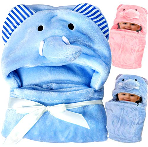 Hooded Swaddle Wrap Receiving Baby Blanket, Baby Toddler Plush Blanket Swaddling Sleeping Stroller Wrap Large (37 x 30) - Thompson Baby