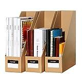TIANSE File Magazine Holder, Desk Storage Organizer for Office Home, Kraft Paper(Pack of 3)