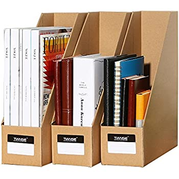 TIANSE File Magazine Holder, Desk Storage Organizer For Office Home, Kraft  Paper(Pack