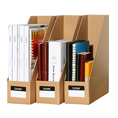 TIANSE File Magazine Holder, Desk Storage Organizer for Office Home, Kraft Paper(Pack of 3)