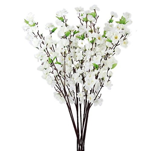 Tinksky Artificial Cherry Plum Peach Blossom Spray Branch Silk Flowers Tree - 10 Pieces