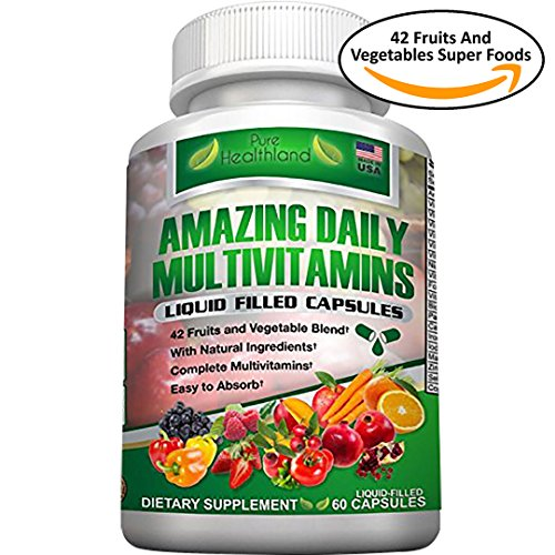 FOOD BASED Daily Liquid Filled Multivitamin Supplement Capsules For Men Women Seniors With 42 Fruits Vegetables Blend, 21 Essential Vitamins Minerals, Boosts Immune System And Energy. Easy To Swallow