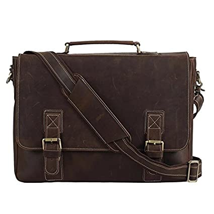 Image Unavailable. Image not available for. Color  Polare Men s Vintage  Thick Full Grain Leather Messenger Bag Fit 16 Inch Laptop 0530c5cd5111e