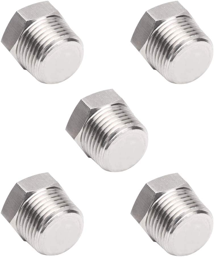 Joyway 2Pcs Stainless Steel Outer Hex Thread Socket Pipe Plug Fitting 3//4 NPT Male