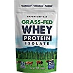 Grass Fed Whey Protein Powder Isolate – Unflavored + Cold Processed + Undenatured – Pure Wisconsin Grass-Fed Protein for Shake, Smoothie, Drink, or Food – Natural + Non GMO + No Gluten – 1 Pound