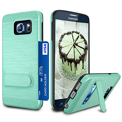 Galaxy S6 Case, S6 Card Holder Cover, Jeylly Turquoise [Metal Satin] Card Holder with Kickstand Hybrid Dual Layer Hard Plastic + Soft TPU Drop Protection Case Cover for Samsung Galaxy S6 G920