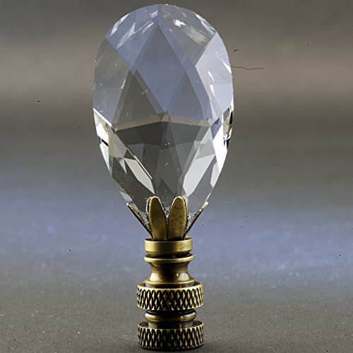 - Swarovski Crystal Lamp Finial (Teardrop) with Antique Brass Base - 2.75 Inches High