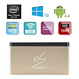 i8S Pocket Mini Super PC Computer Tv Box Wintel Windows10 Android4.4 2GB/32GB HDMI Intel 3735F US Plug -Gold