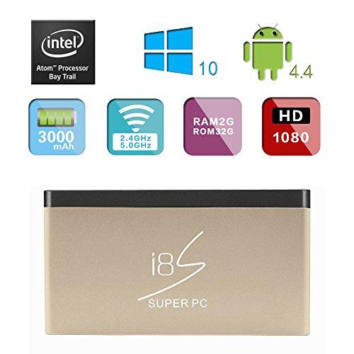 i8S Pocket Mini Super PC Computer Tv Box Wintel Windows10 Android4.4 2GB/32GB HDMI Intel 3735F US Plug -Gold