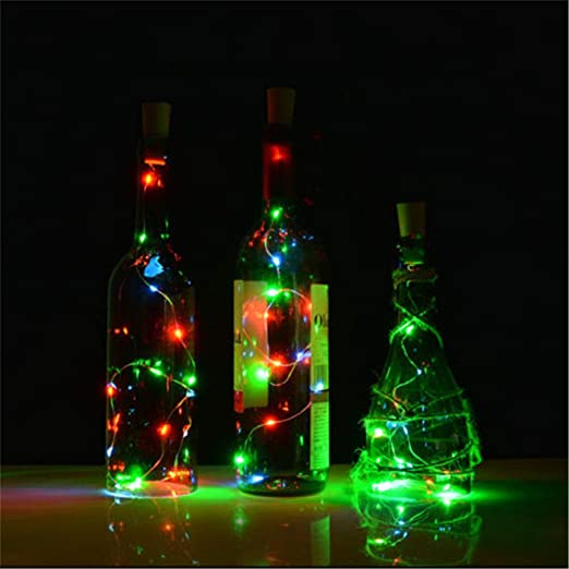 TMSE Luces de la lámpara 10 del Alambre de Cobre del tapón de la Botella Solar led iluminada del Vino: Amazon.es: Deportes y aire libre