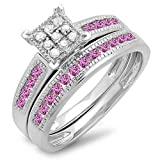 Sterling Silver Pink Sapphire & White Diamond Engagement Ring Set (Size 9)