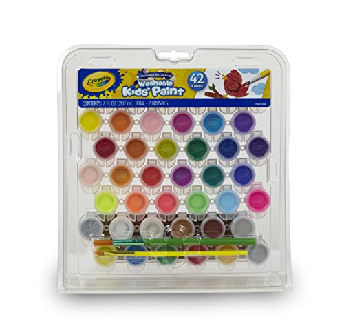 Crayola Kid's Washable Paint Set, 42 Ct., Gift for Kids, Ages 3, 4, 5, 6, 7
