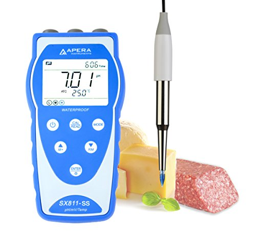 Apera Instruments SX811-SS Portable pH Meter for Food and Dairy Products, Equipped with Swiss LanSen Food-Grade Stainless Steel Spear Probe, Anti-Contamination